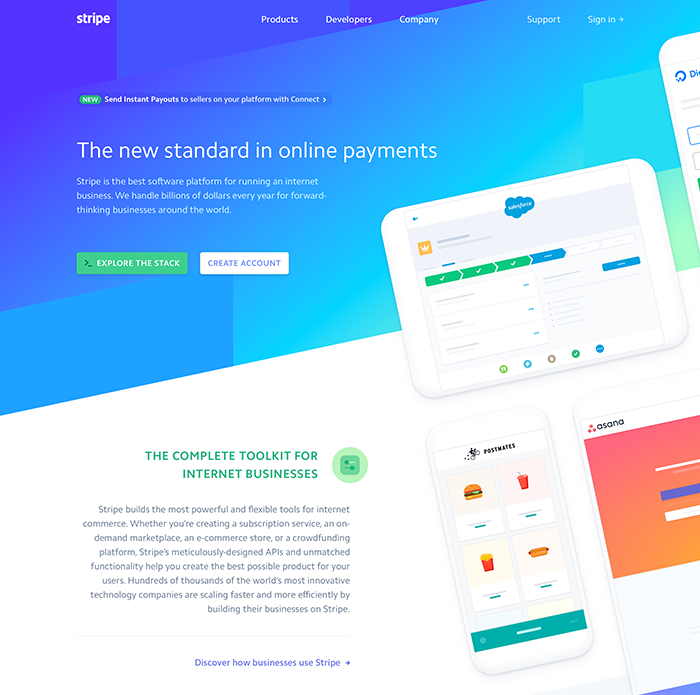 Stripe landing page hero design