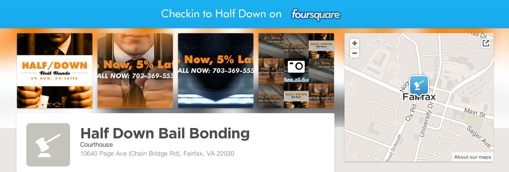 half down bail bonding on foursquare in fairfax county