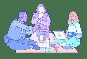 Illustrasjon av en gruppe som arbeider med et Ethereum-prosjekt rundt en bærbar datamaskin