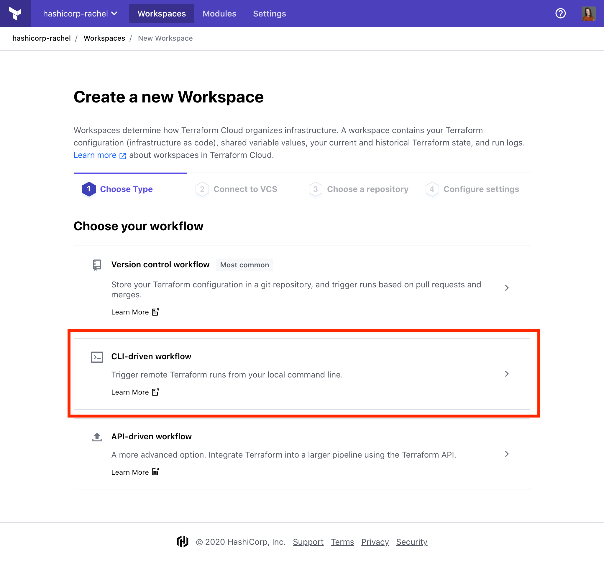 Create a new workspace in Terraform Cloud with the CLI Driven workflow