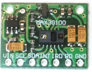 A digital heart rate sensor using the MAX30100 chip.