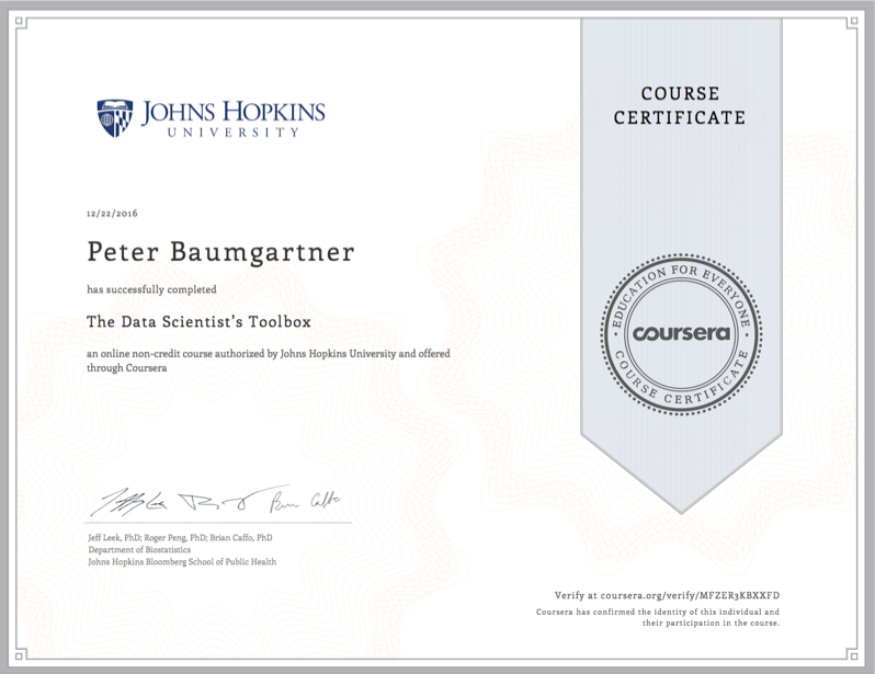Coursera Certificate for Peter Baumgartner for the course on Data Science Toolboxes.