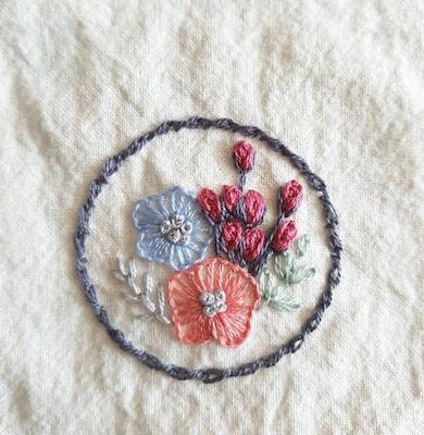 Points de broderie représentant des fleurs