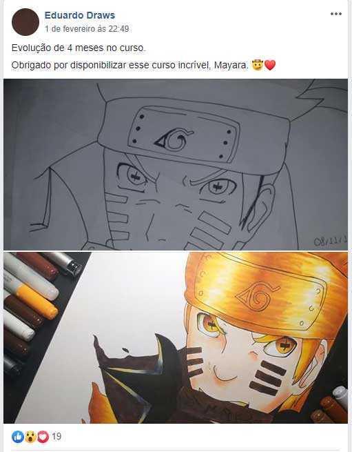 Depoimento dos alunos sobre o curso com desenho do Naruto