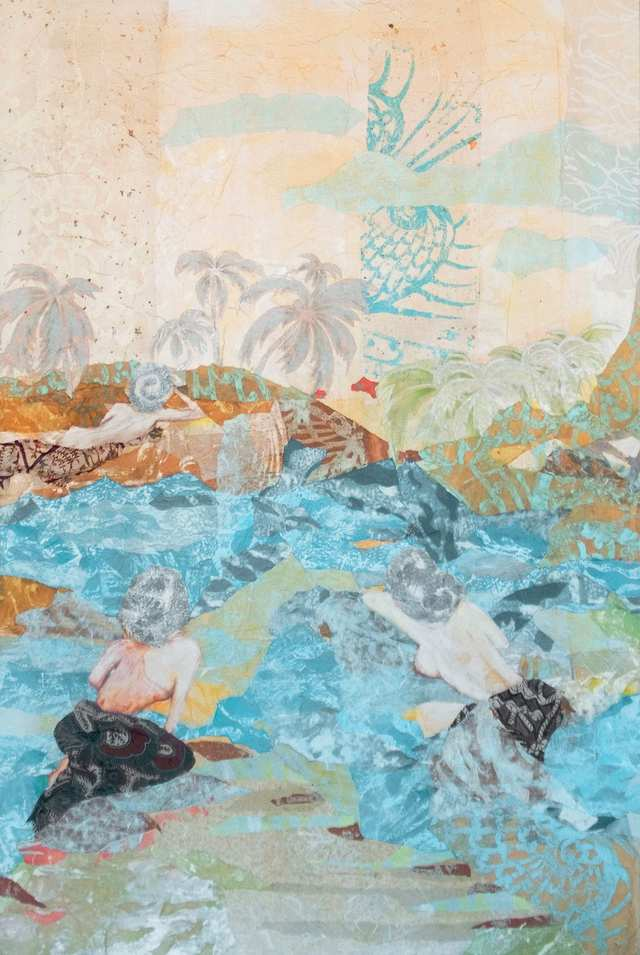 This ideal paradise, woodblock acrylic collage on canvas