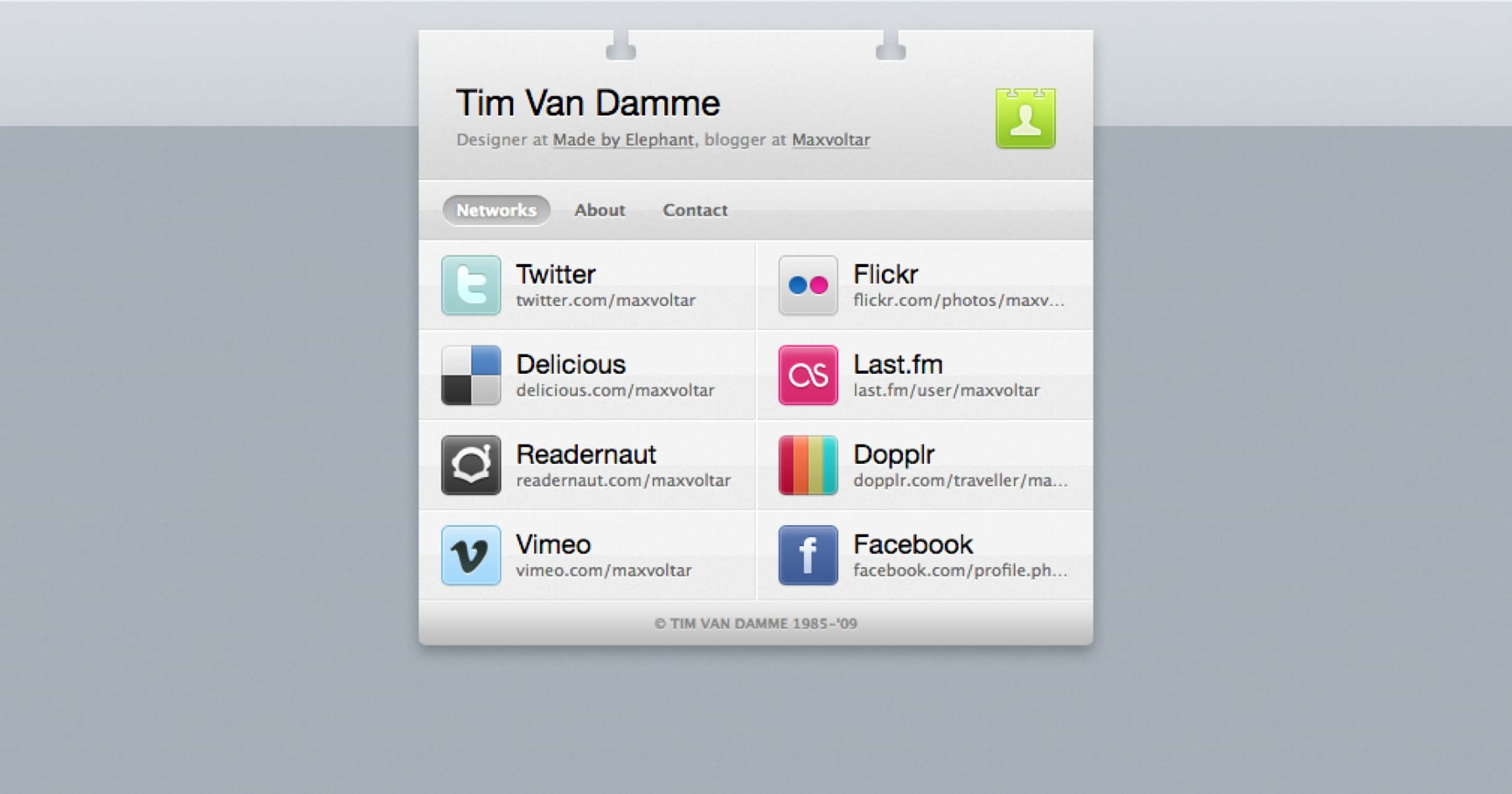 Tim Van Damme vCard website