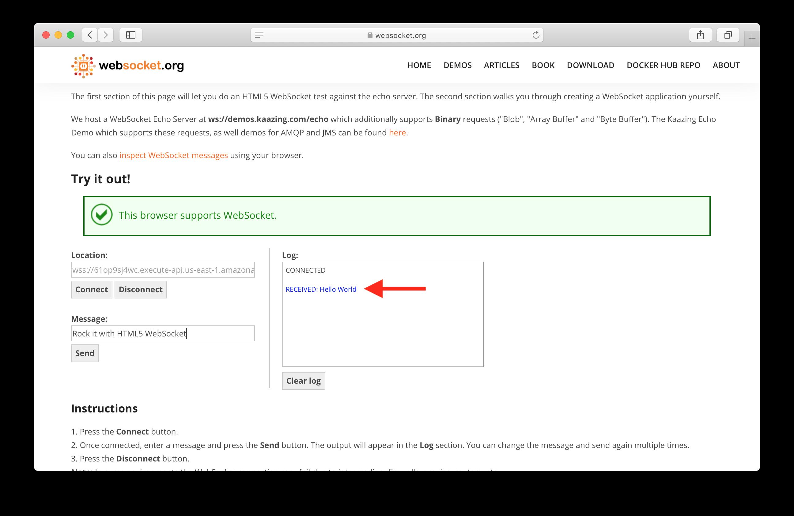 Receive message from serverless WebSocket API