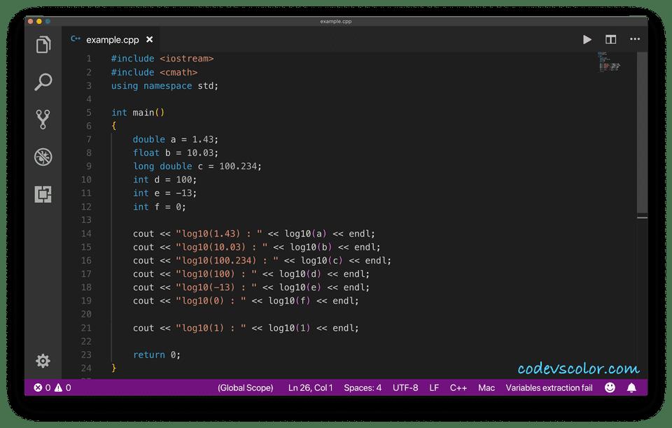 C++ log10()