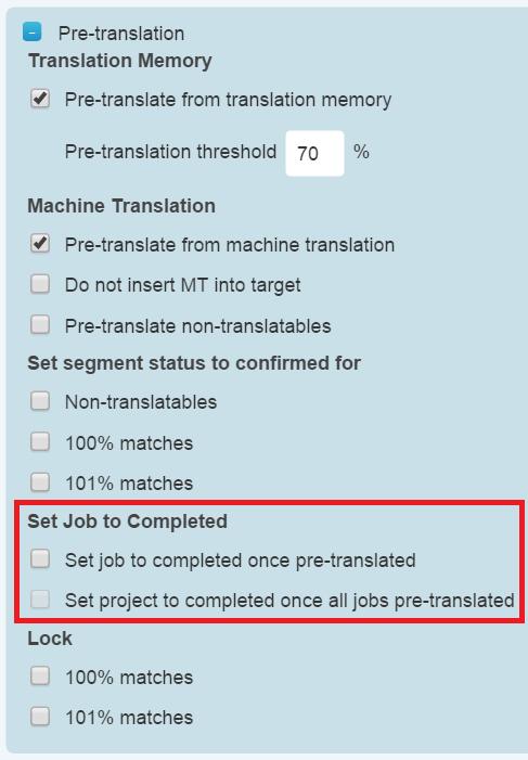 Pre-translation Settings