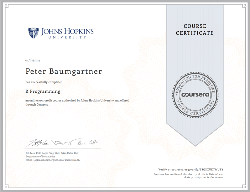 Coursera Certificate for Peter Baumgartner for the course on R Programming.