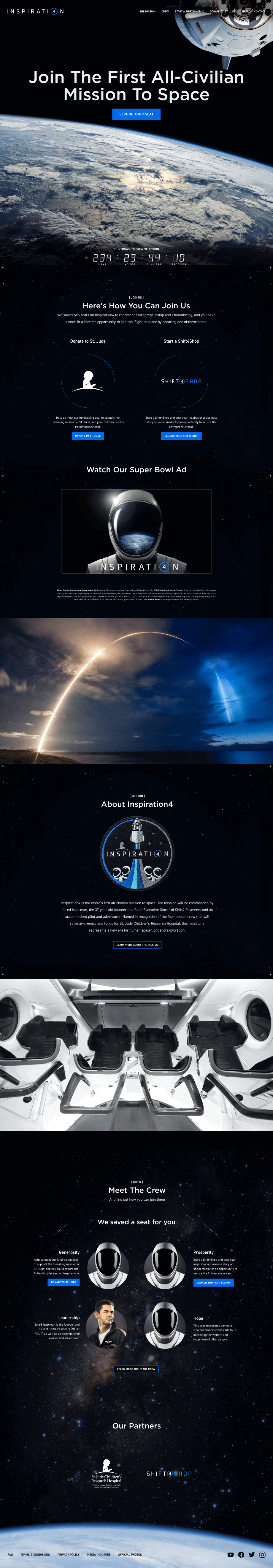 Inspiration 4 Discovery Homepage