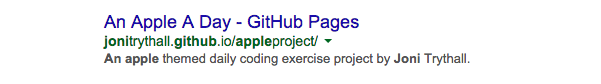 Screenshot of Google search results reflecting set metadata of An Apple A Day site