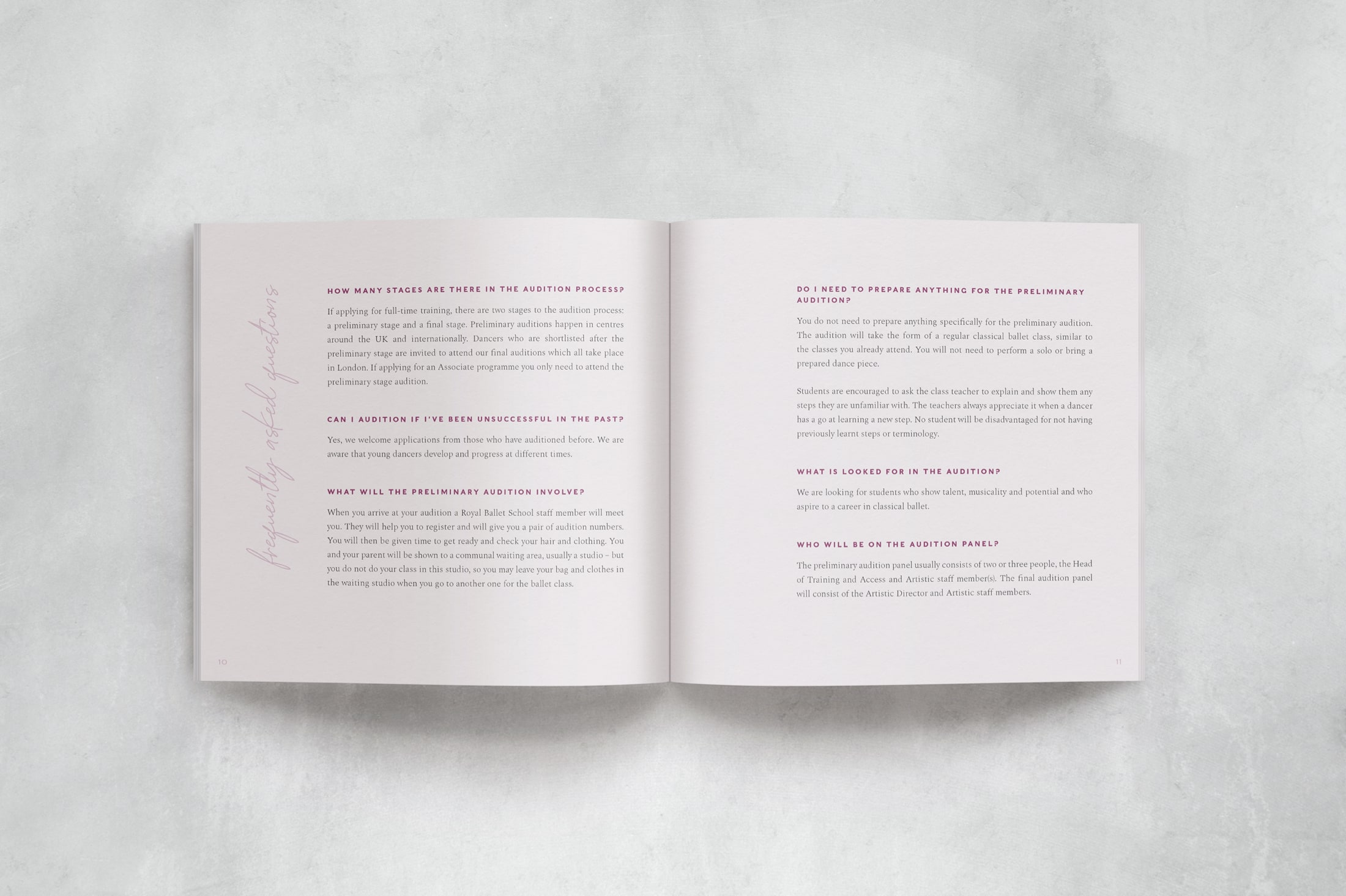 Prospectus design for ballet and contemporary dance school, The Litvinjov Academy