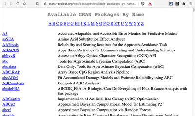 Screenshot displays web page 'Available CRAN Packages By Name'.