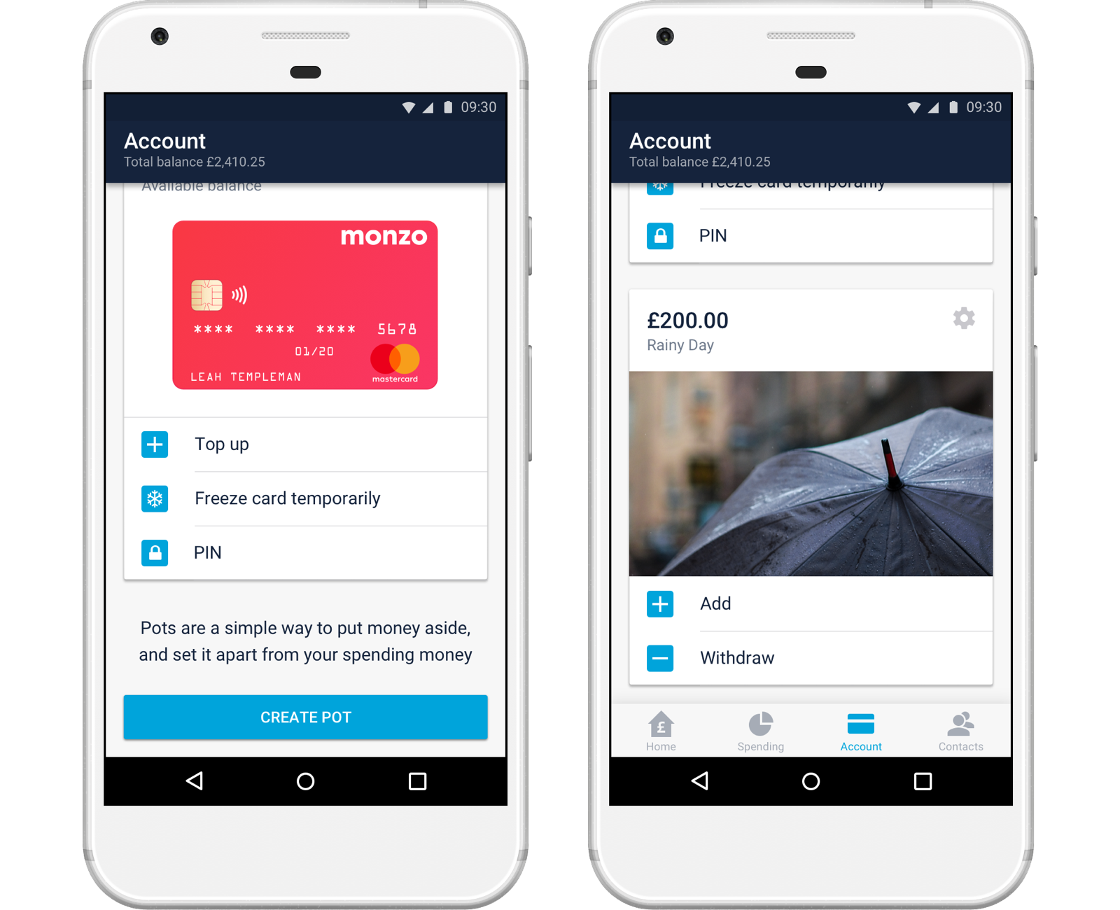 Screenshots of pots in the Monzo Android app