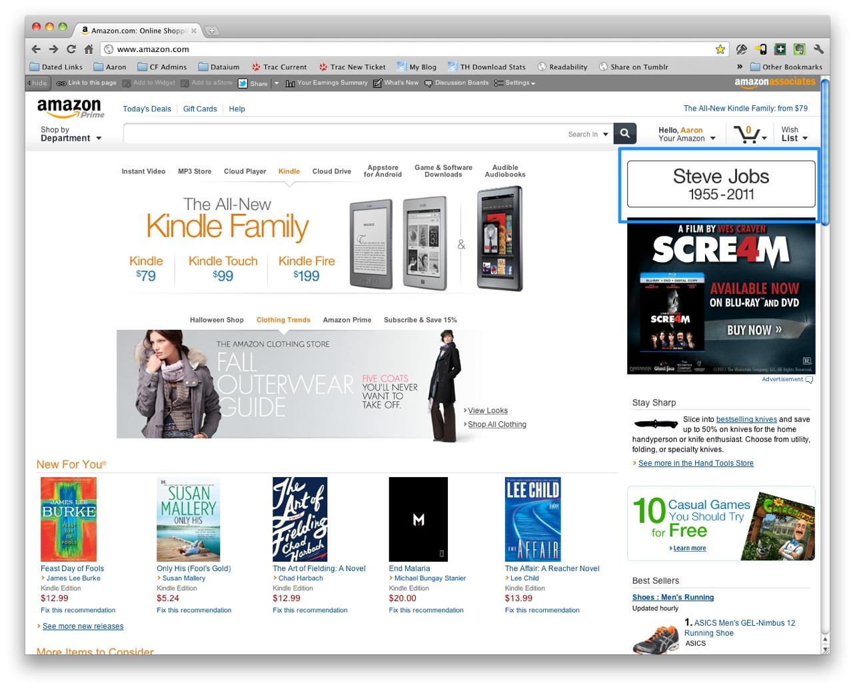 Amazon tribute to Steve Jobs