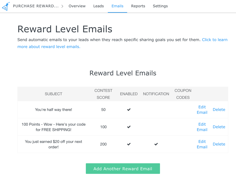 Reward level email setup done