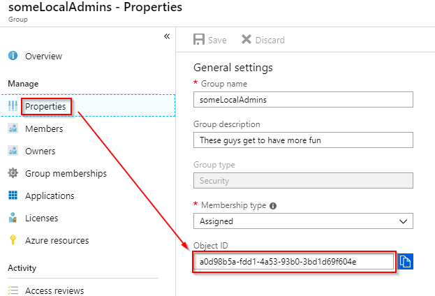 Image of how to get the Object ID of an Azure AD Group.