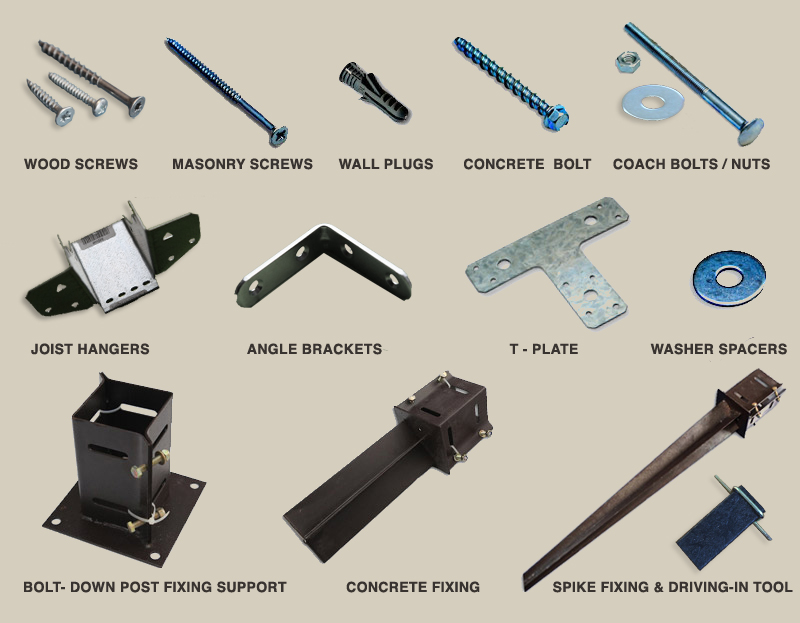 A photographic list of the parts which comes with a pergola for construction purposes; wood screws, masonry screws, wall plugs, concrete bolt, coach bolts/nuts, joist hangers, angle brackets, T-plate, washer spacers, and an option of bolt-down fixings, concrete fixings, or spike fixings with a driving-in tool
