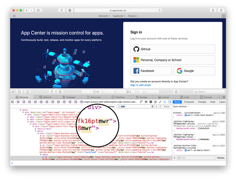 """A screenshot of the App Center login page with Safari developer tools open, showing many search results in the elements panel for the string """"mwr."""""""