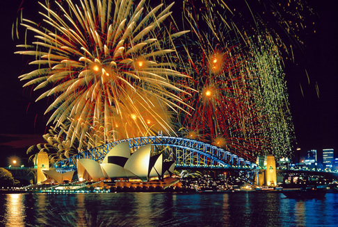 Fireworks over the Sydney Opera House and Harbour Bridge