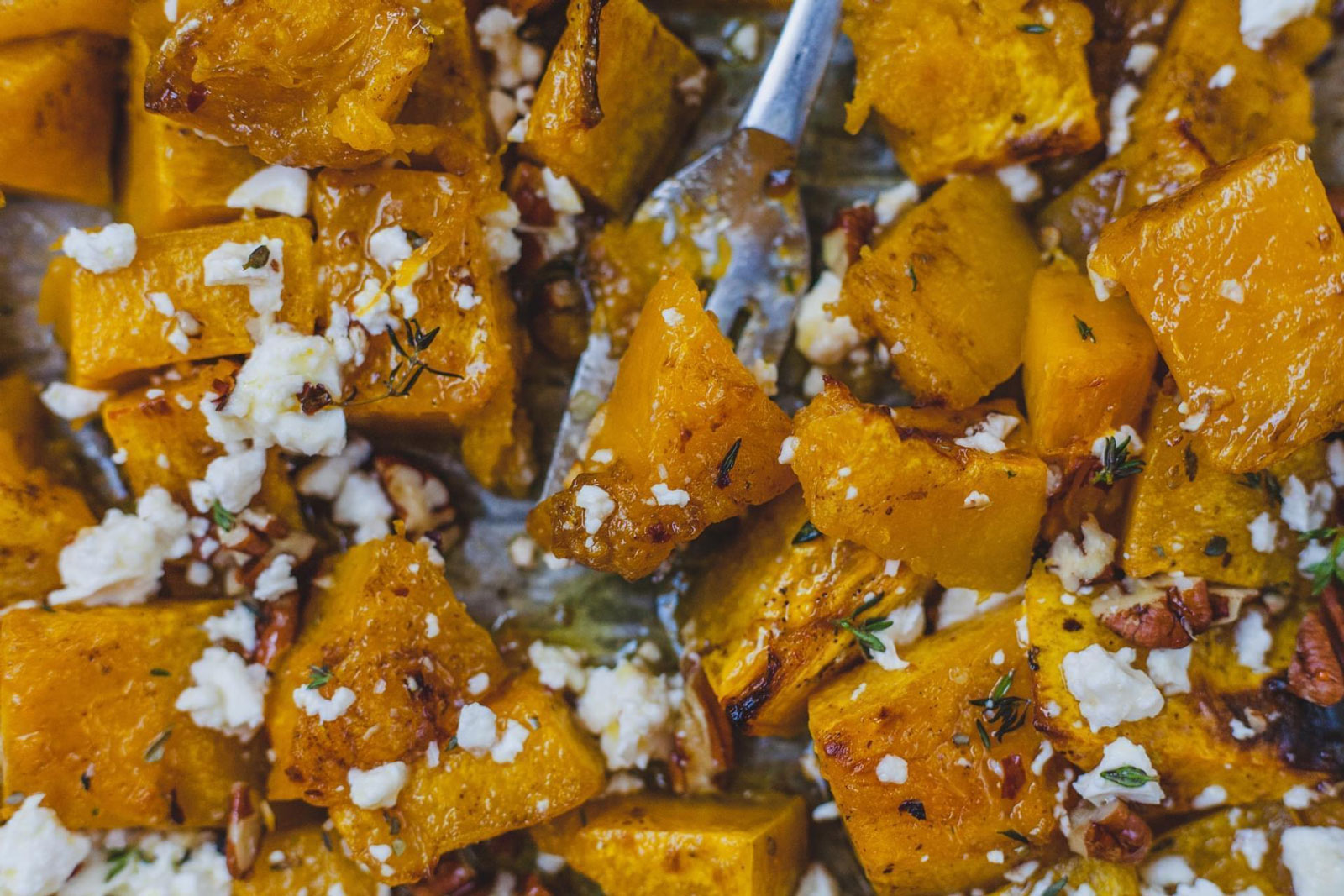 Spicy Roasted Pumpkin With Honey Thyme And Feta