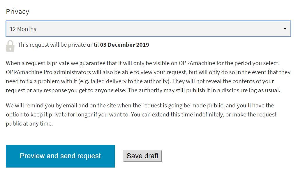 Private OPRA request