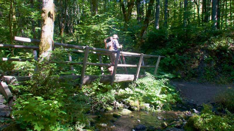 Dave crosses a bridge over a creek