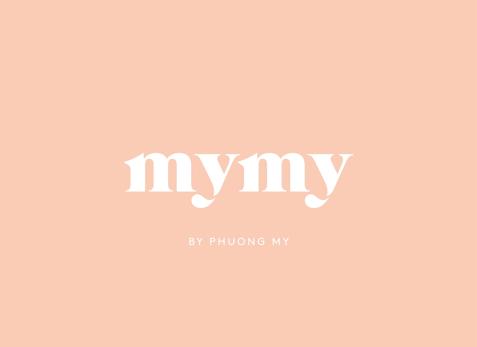 MYMY logo on peachy-pink background