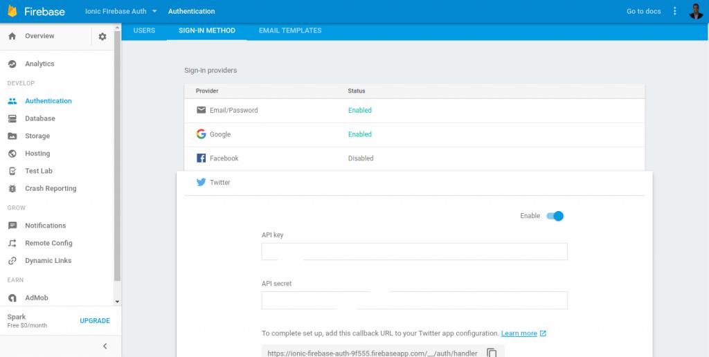 firebase enable twitter login