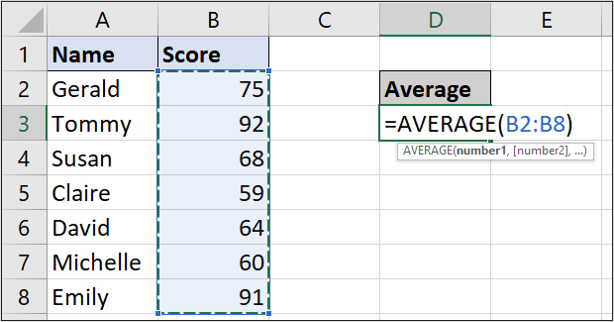 A simple Excel spreadsheet containing data for student names and test scores. In this example, the AVERAGE function has been entered and the relevant cells selected.