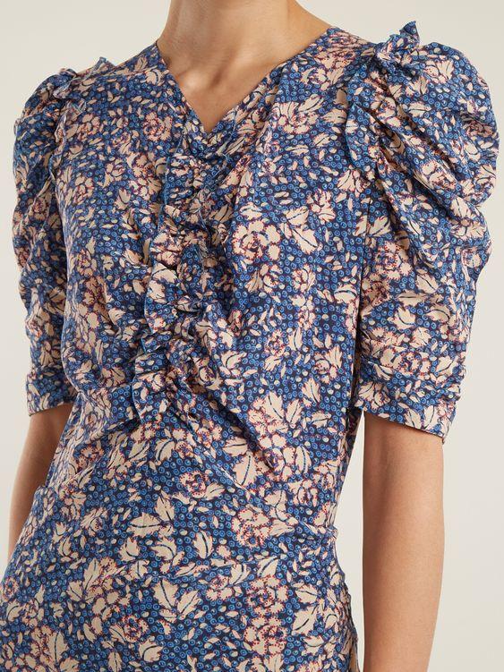 Robe bleue fleurie