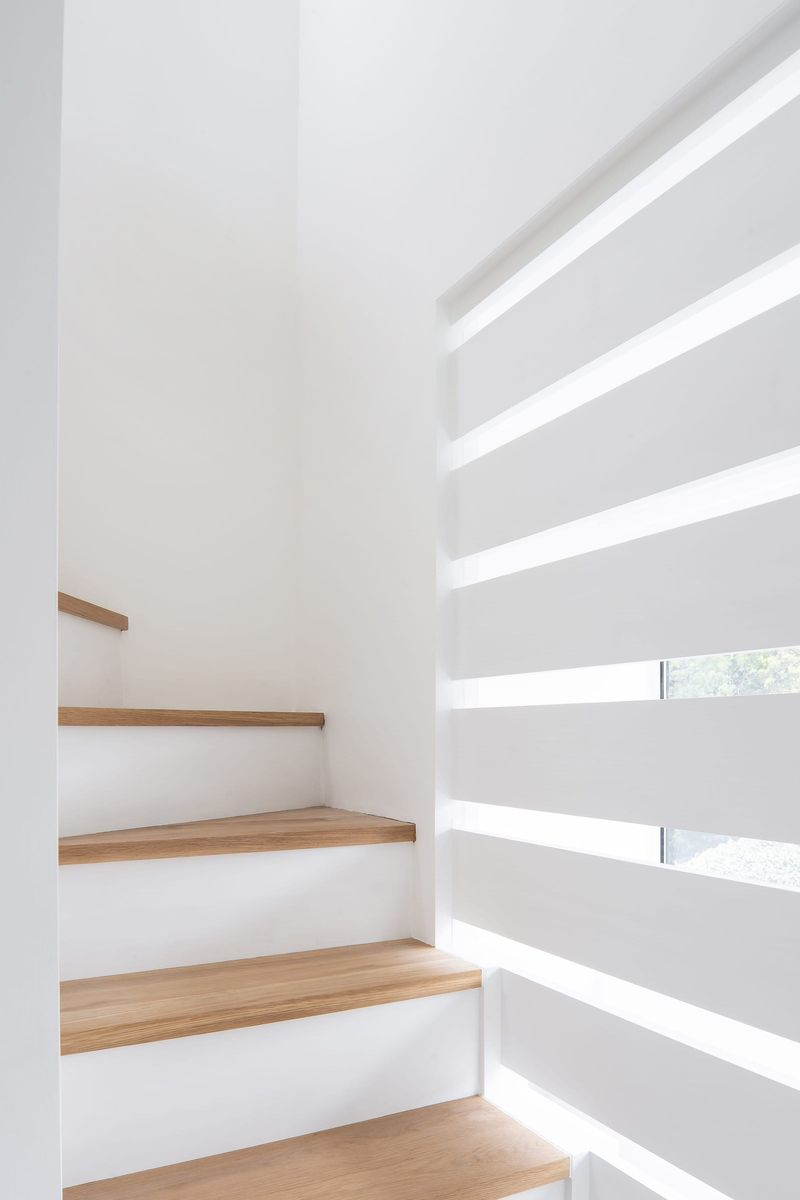 Naturally lit oak and white painted staircase leading up to the new master bedroom suite within From Works loft conversion and rear dormer extension in Blackheath, London.