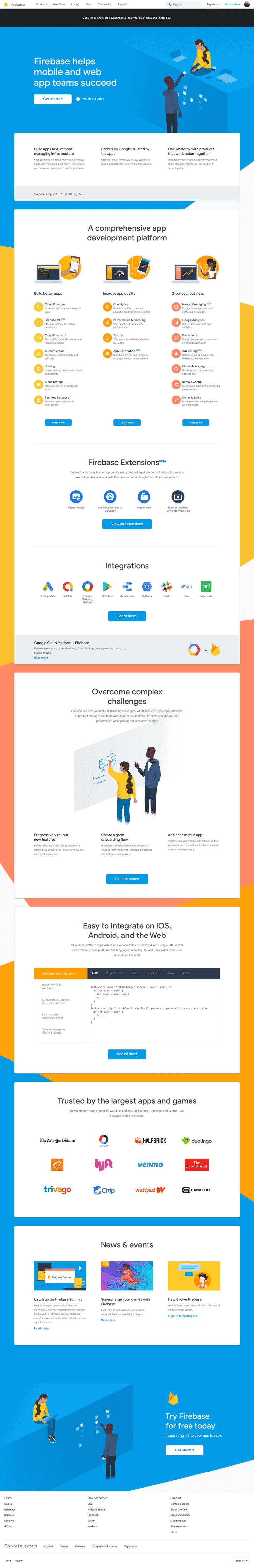Firebase homepage screenshot