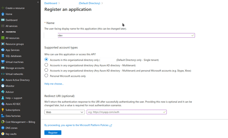 New Azure app registration