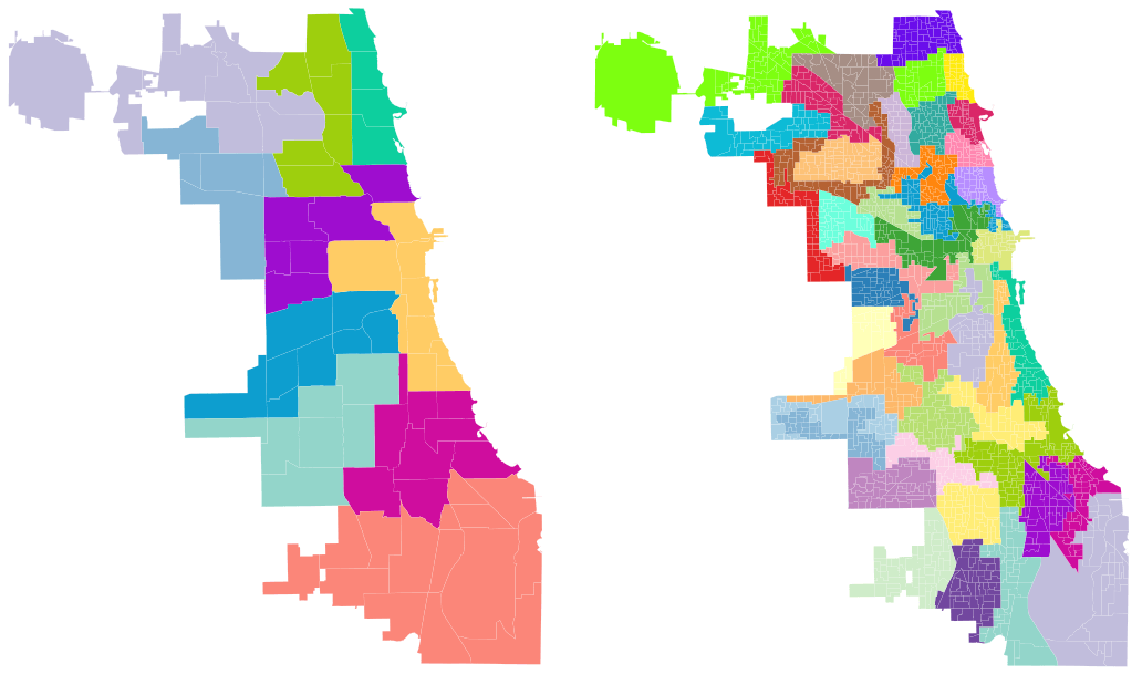 Two districting plans for Chicago