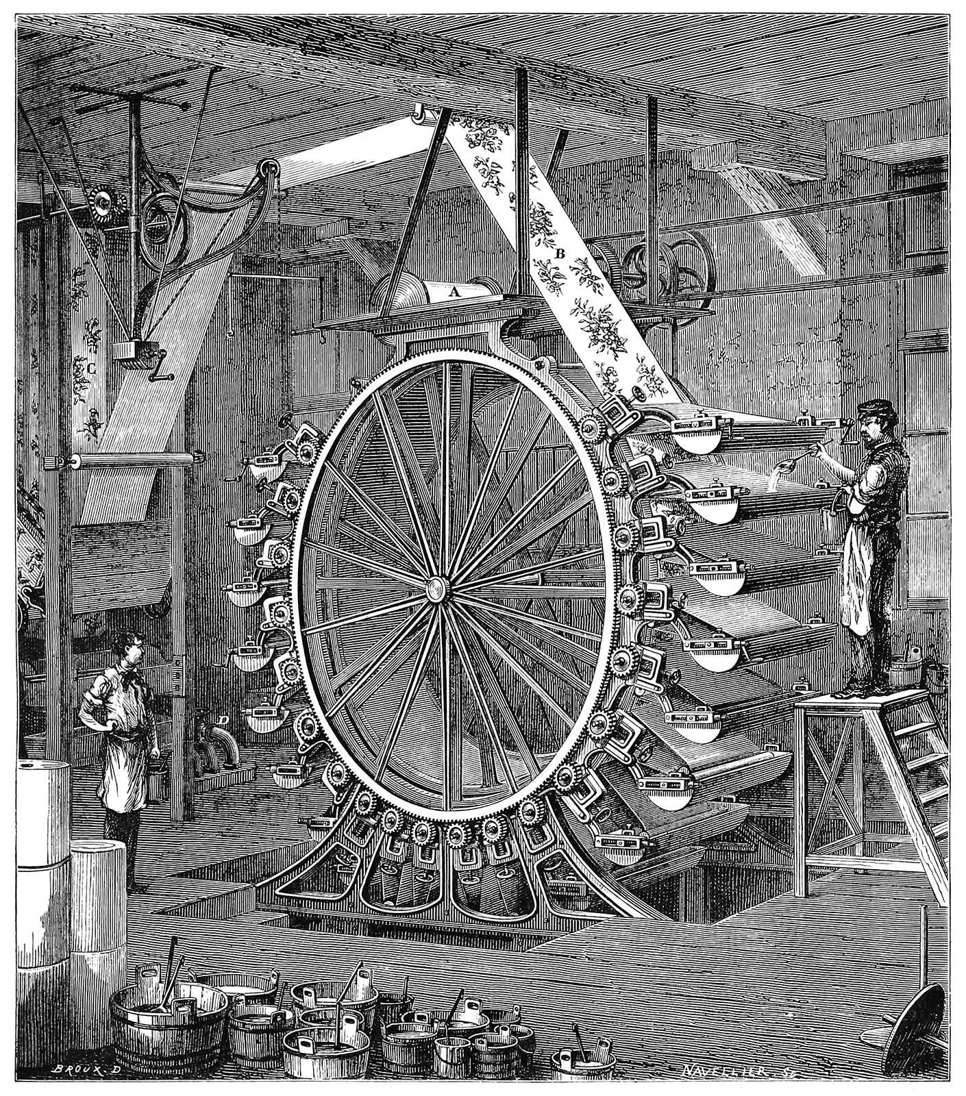 An enormous wallpaper printing machine