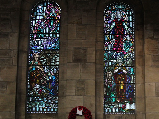 Two stained glass windows within Carriden Church
