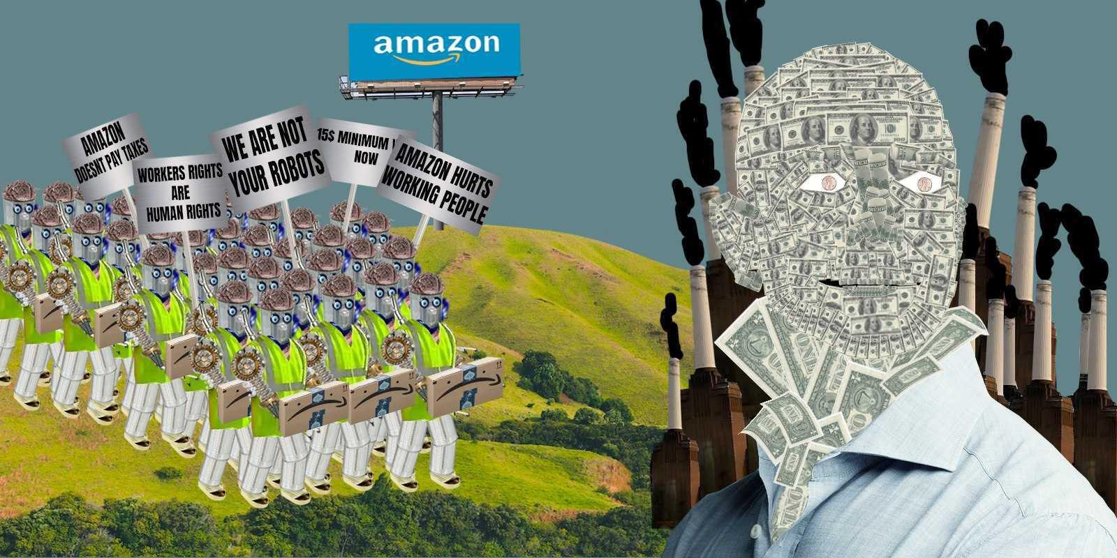Animated drawing of Amazon robot workers