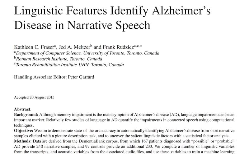 Linguistic features identify Alzheimer's disease in narrative speech