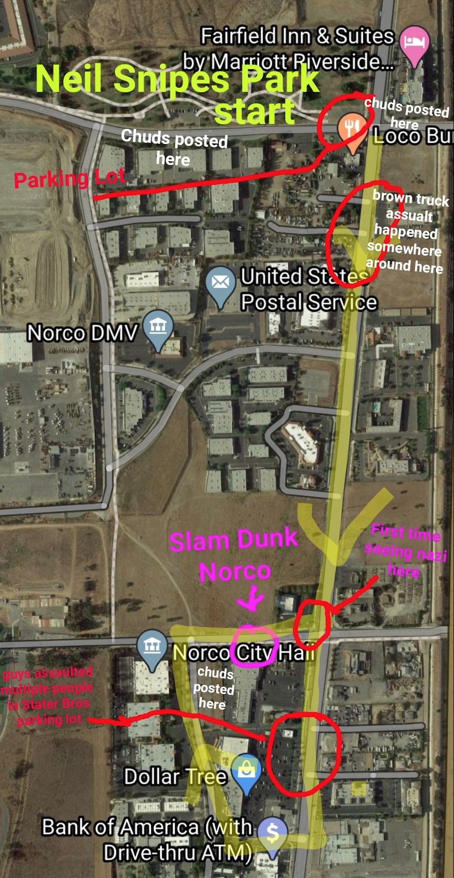 Map of the protest route drawn by 'Sam'
