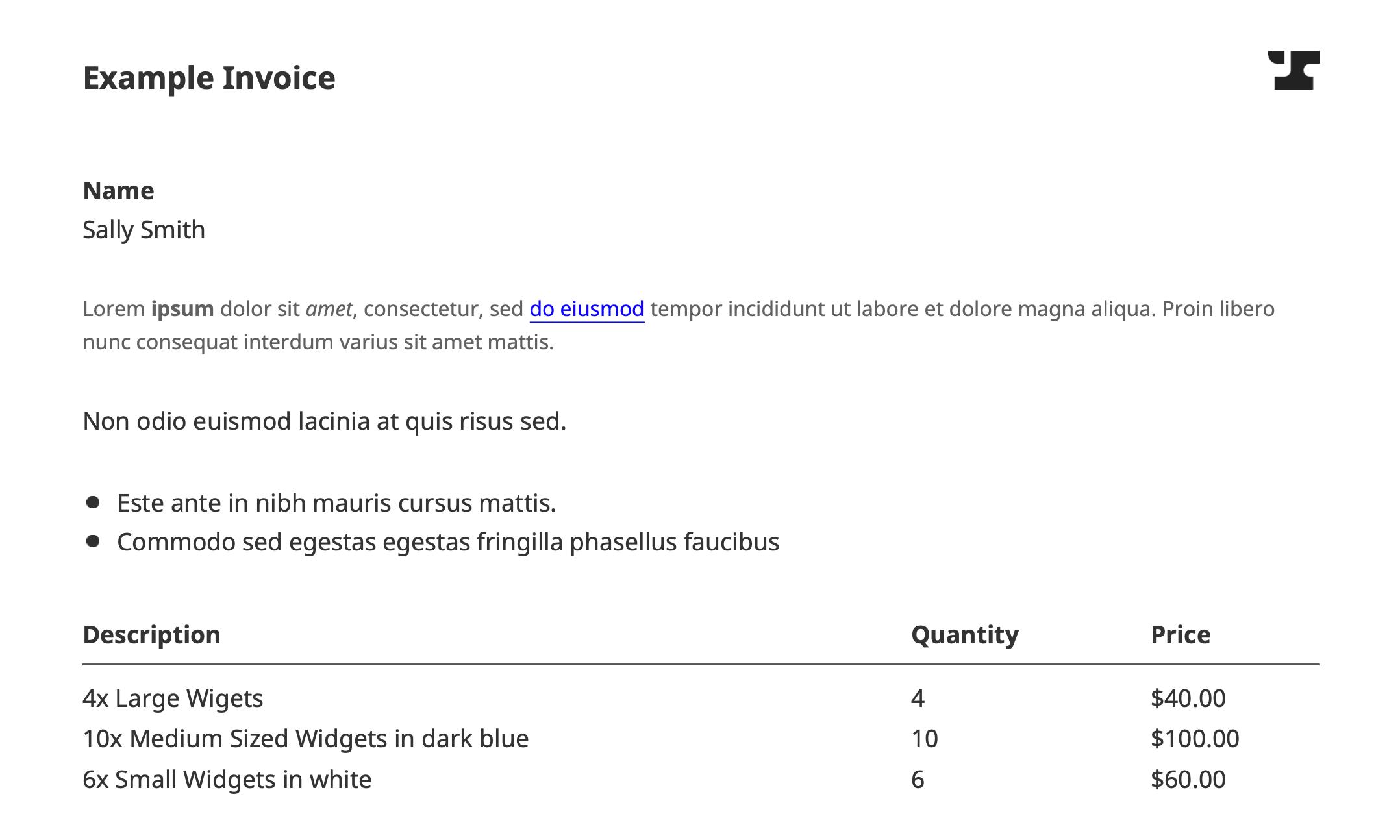 Generate Invoice PDF Example