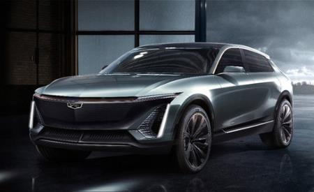 A mock-up of the upcoming GM Cadillac all-electric SUV