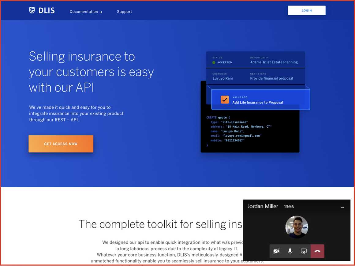 Delivering a suit of self-service insurance tools remotely.