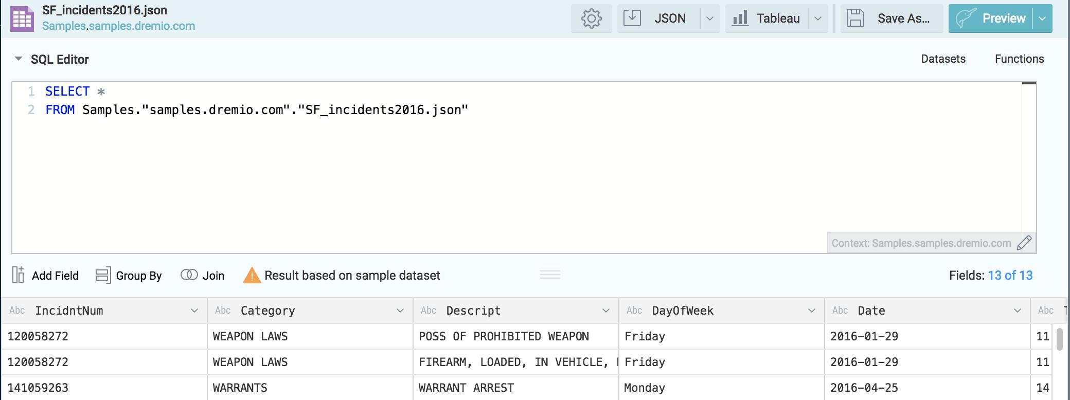 Dremio SQL editor