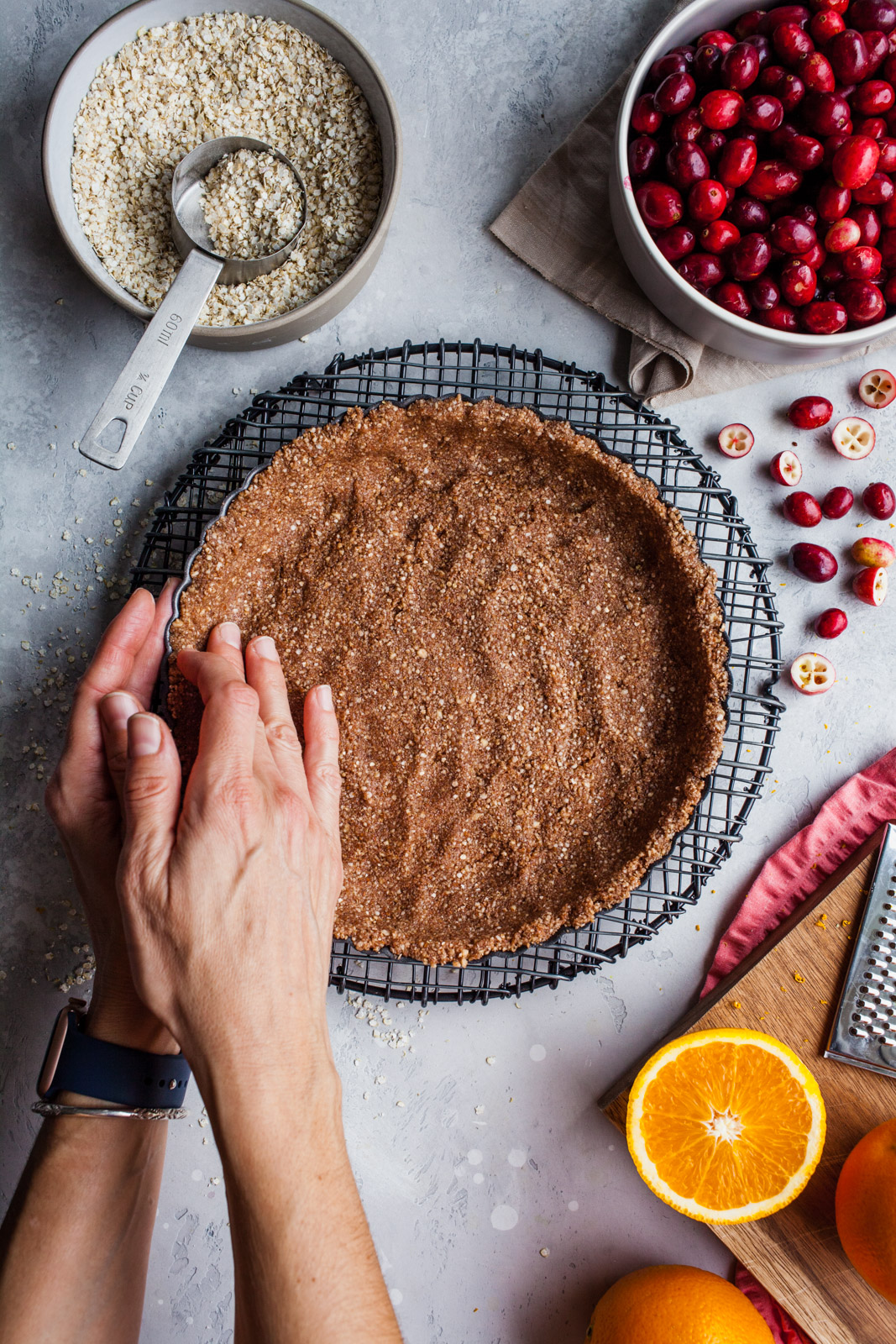 Orange Cranberry Tart With Cocoa Quinoa Flake Almond Crust