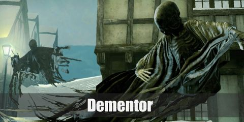 A dementor wears a long, billowing, tattered black hooded robe, and you can see the outlines of their ribs. That's all.