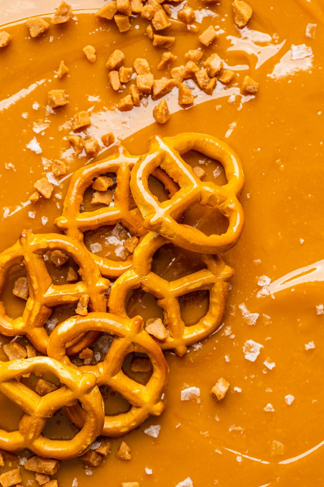 Caramel Cheesecake With a Pretzel Crust