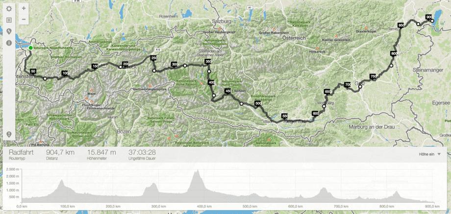 Österreichkarte mit Radstrecke vom Bodensee zum Neusiedlersee