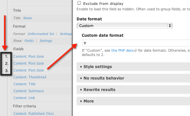 Custom Date format in the Views Settings for field: Content: Post date